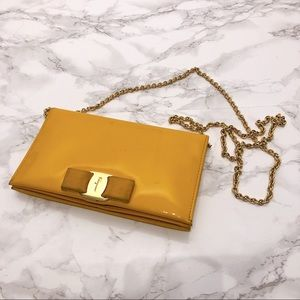 Ferragamo yellow patent wallet on chain